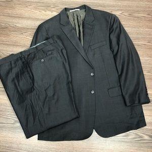 Hickey Freeman Black & Grey Check Suit 48R